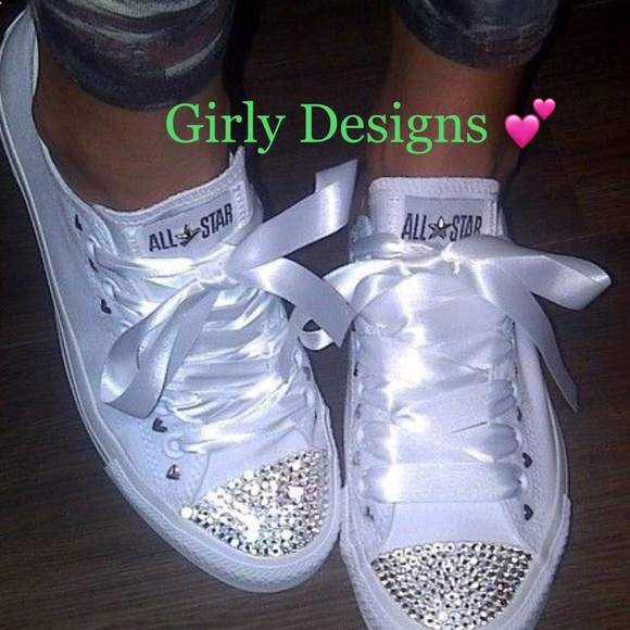 b2868d1fb9f9 White custom bling converse
